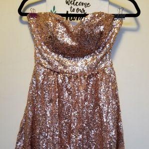 Arden B Rose Gold Sequin Flowy Party dress